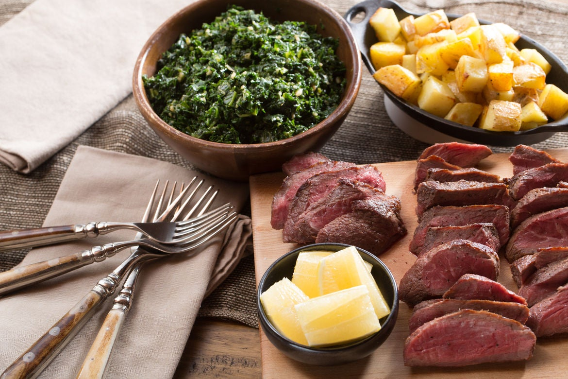 "Seared Sirloin Steaks with Roasted Potatoes & ""Creamed"" Kale"