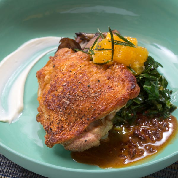 Roasted Chicken & Mixed Mushrooms with Crispy Rosemary-Orange Salad & Chipotle Pan Sauce