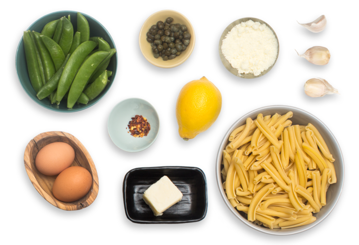 Spring Gemelli Pasta with Garlic Sugar Snap Peas, Crispy Capers & Soft-Boiled Eggs ingredients