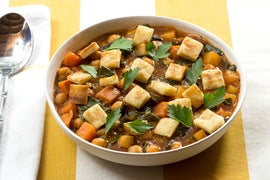 Jamaican Curry Chili with Purple Top Turnip, Collard Greens & Pita Croutons