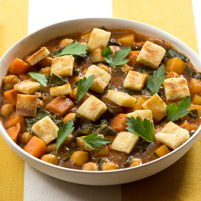 Jamaican Curry Chili with Purple Top Turnip, Collard Greens & Pita Croutons