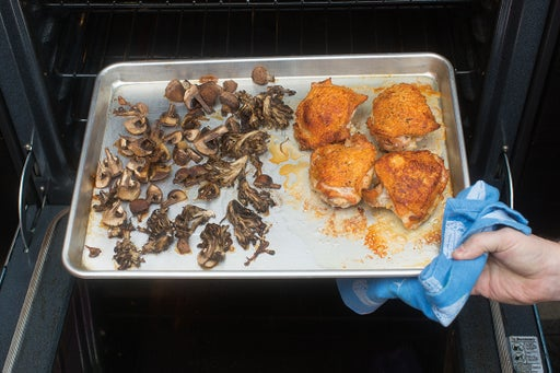 Cook the chicken & mushrooms: