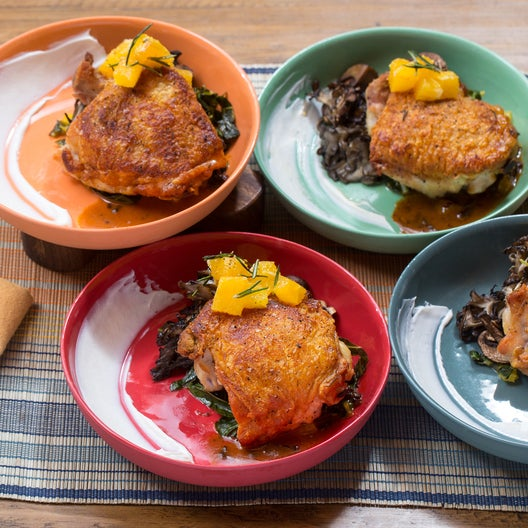 Oven-Roasted Chicken & Mixed Mushrooms with Crispy Rosemary-Orange Salad & Chipotle Pan Sauce