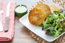 Fried Green Tomatoes with Cajun Rémoulade Sauce & Boston Red Leaf Salad