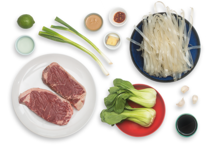 Seared Steaks & Peanut Noodles with Baby Bok Choy ingredients