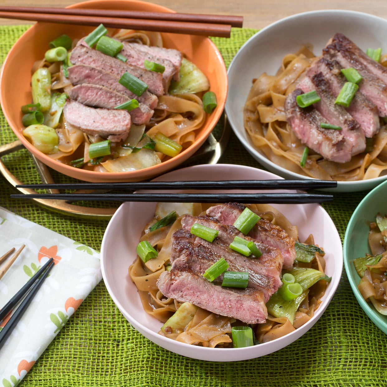 Seared Steaks & Peanut Noodles with Baby Bok Choy
