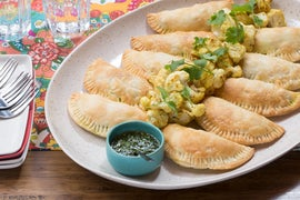 English Pea & Potato Samosas with Spiced Cauliflower & Cilantro-Mint Chutney