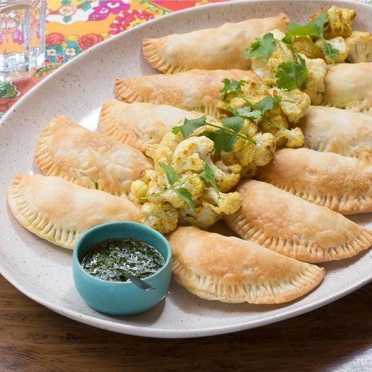 English Pea & Potato Samosas with Spiced Cauliflower & Cilantro-Mint Chutney