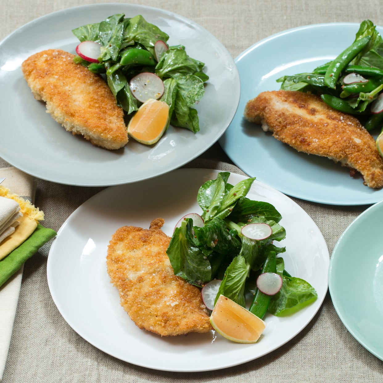 Panko-Crusted Chicken with Pea Tip Salad & Pink Lemon