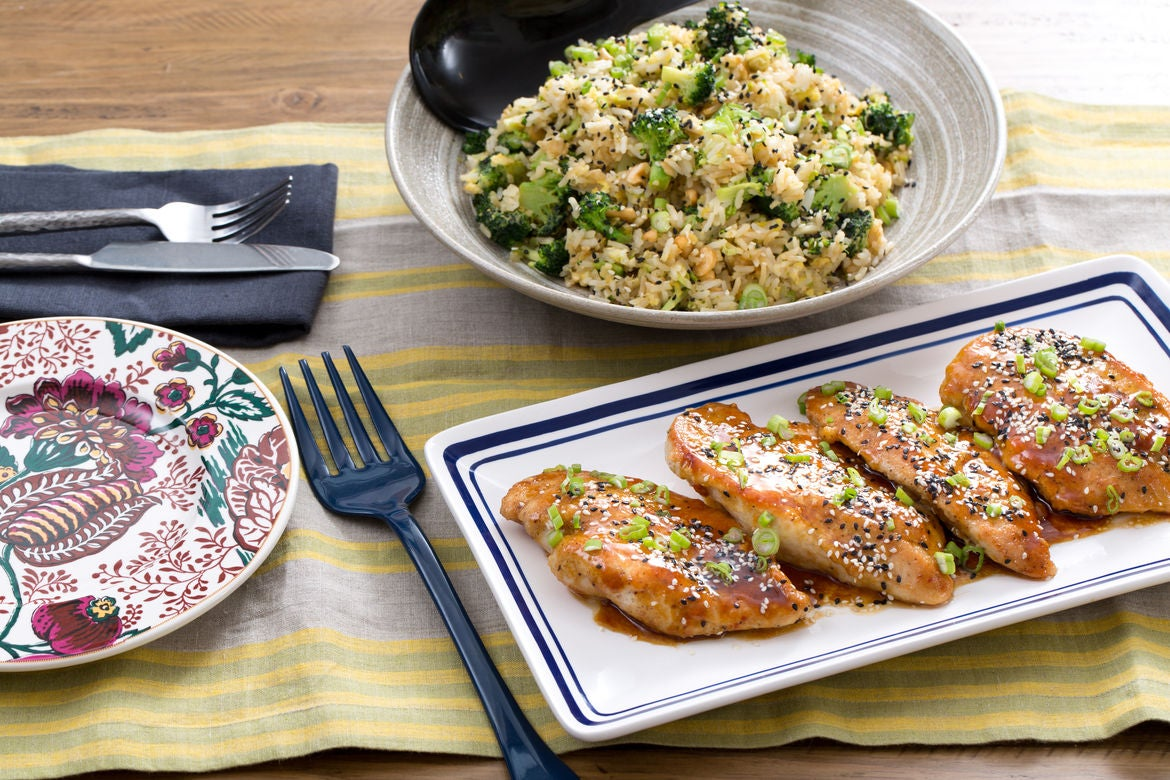 Soy-Glazed Chicken with Broccoli, Cashew & Sesame Fried Rice