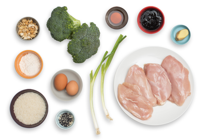 Soy-Glazed Chicken with Broccoli, Cashew & Sesame Fried Rice ingredients