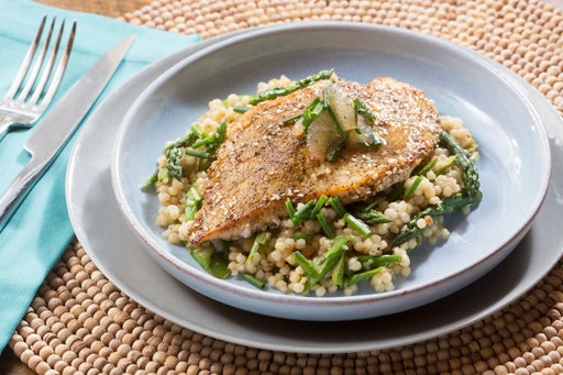Za'atar Chicken & Pearl Couscous with Asparagus & Pink Lemon Compote