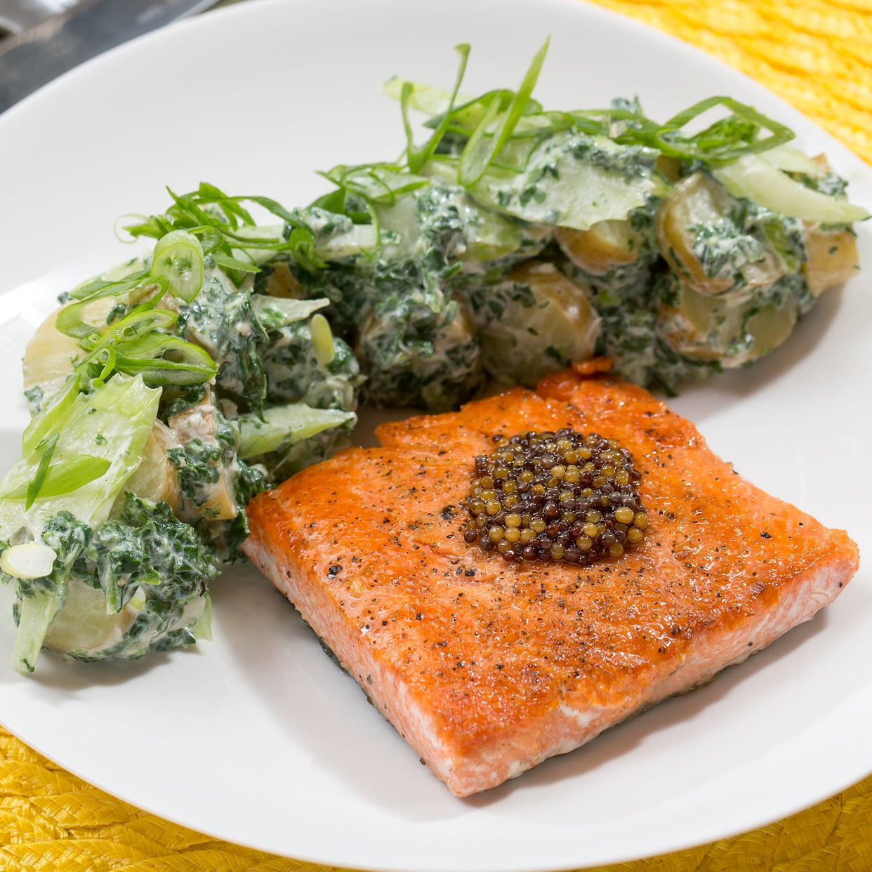 "Seared Salmon & ""Green"" Potato Salad with Pickled Mustard Seeds"