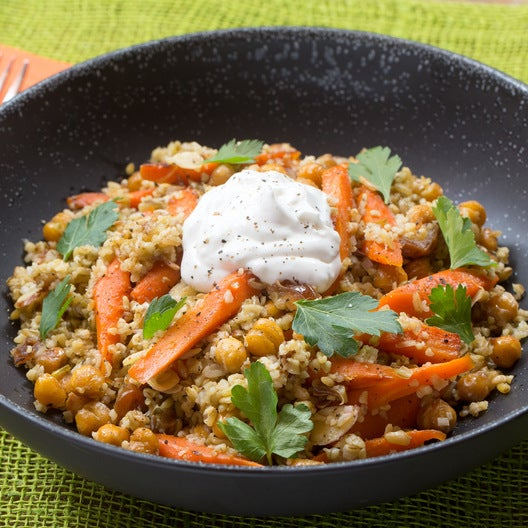 Roasted Chickpea & Freekeh Salad with Harissa-Glazed Carrots & Dates