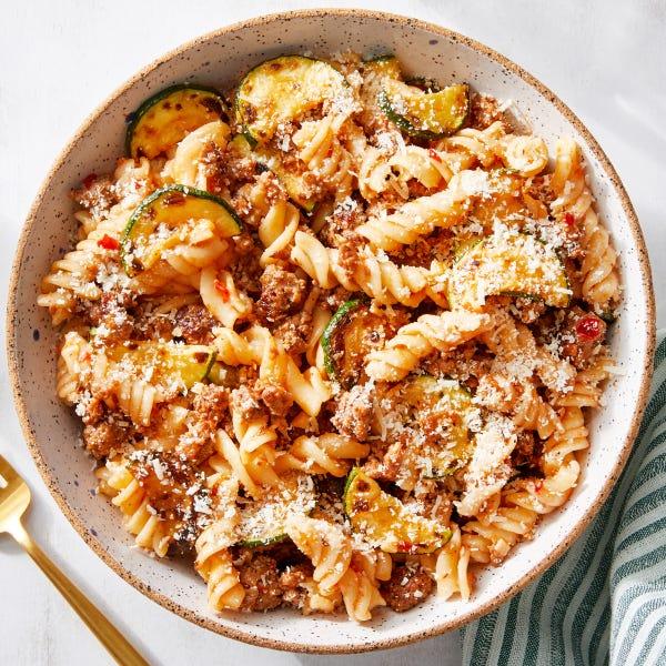 Zesty Beef & Fresh Fusilli Pasta with Zucchini