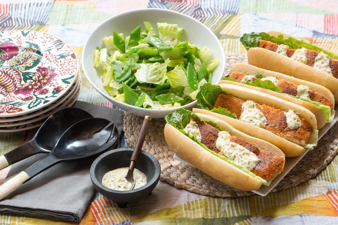 Spiced Salmon Po' Boy Sandwiches with Rémoulade Sauce & Romaine-Snow Pea Salad