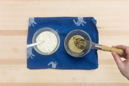 Make the rémoulade sauce & vinaigrette: