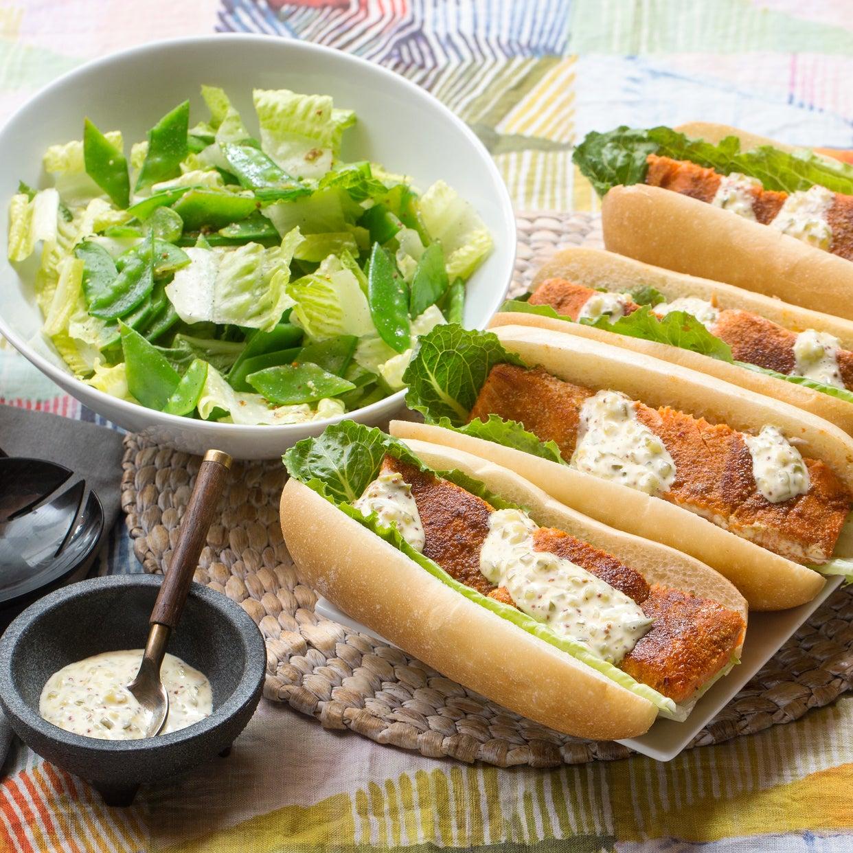 Spiced Salmon Po' Boy Sandwiches with Rémoulade Sauce & Romaine-Snow Pea Salad