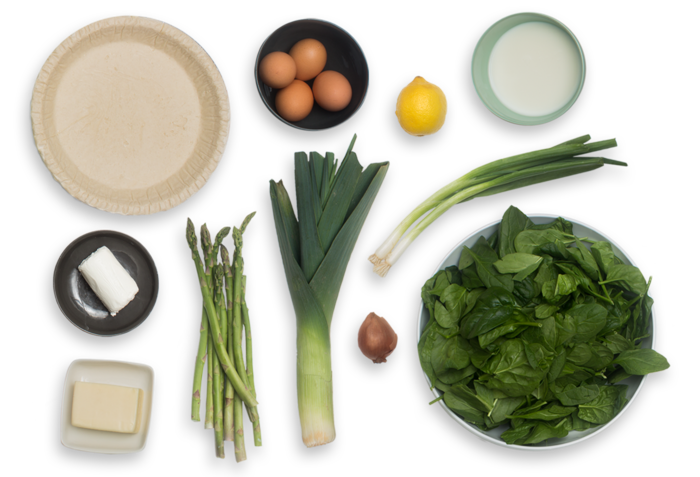 Asparagus & Fontina Quiche with Leek & Spinach-Goat Cheese Salad  ingredients