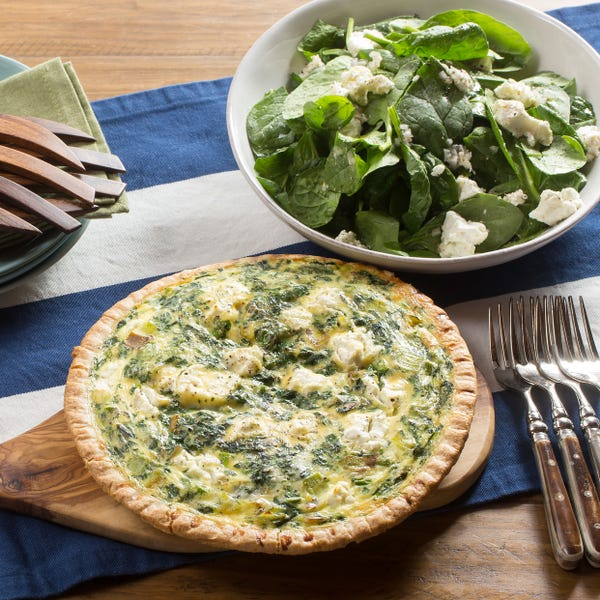 Asparagus & Fontina Quiche with Leek & Spinach-Goat Cheese Salad