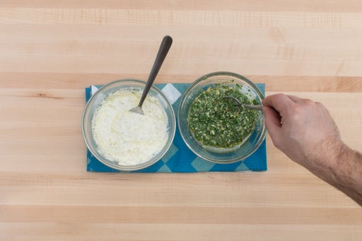 Season the ricotta & make the pesto: