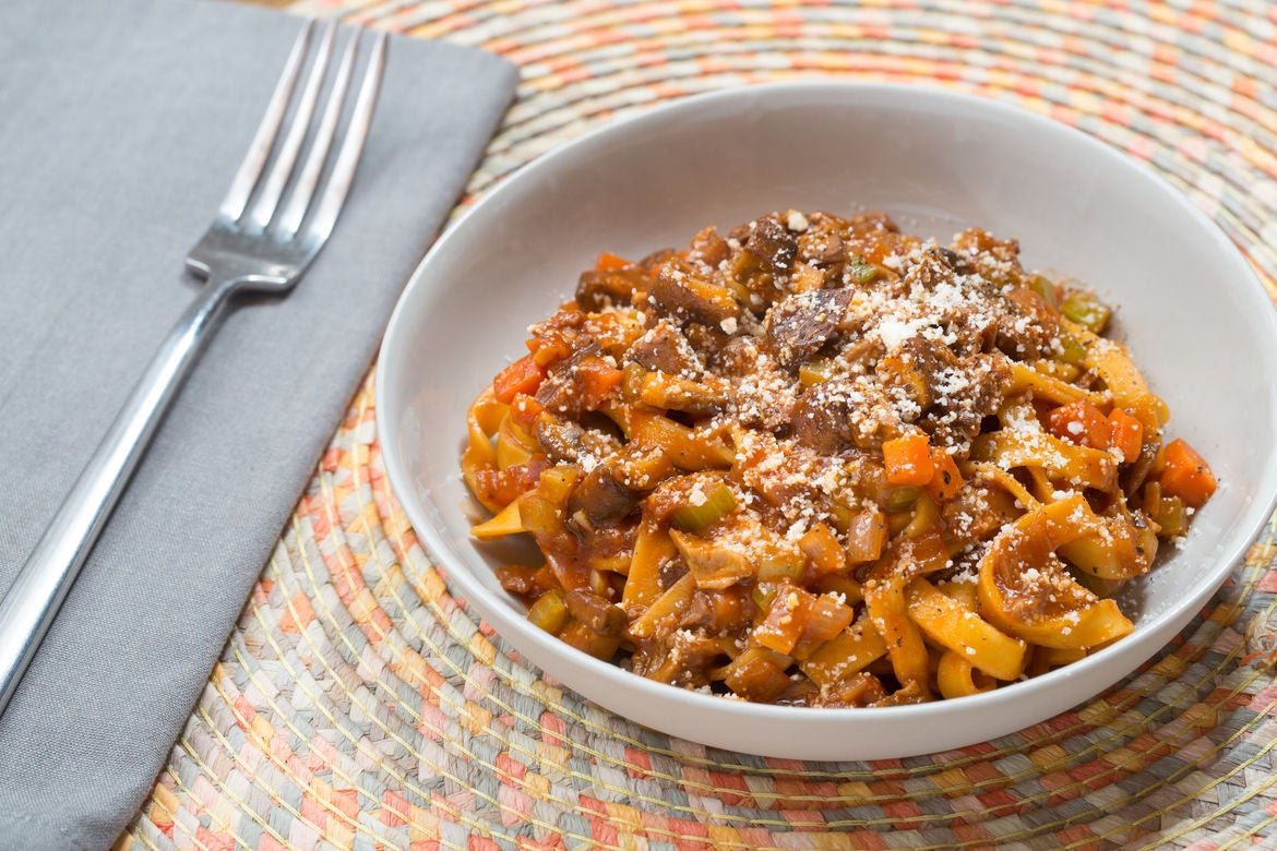 Recipe: Fresh Fettuccine Pasta with Porcini Mushroom Bolognese - Blue ...