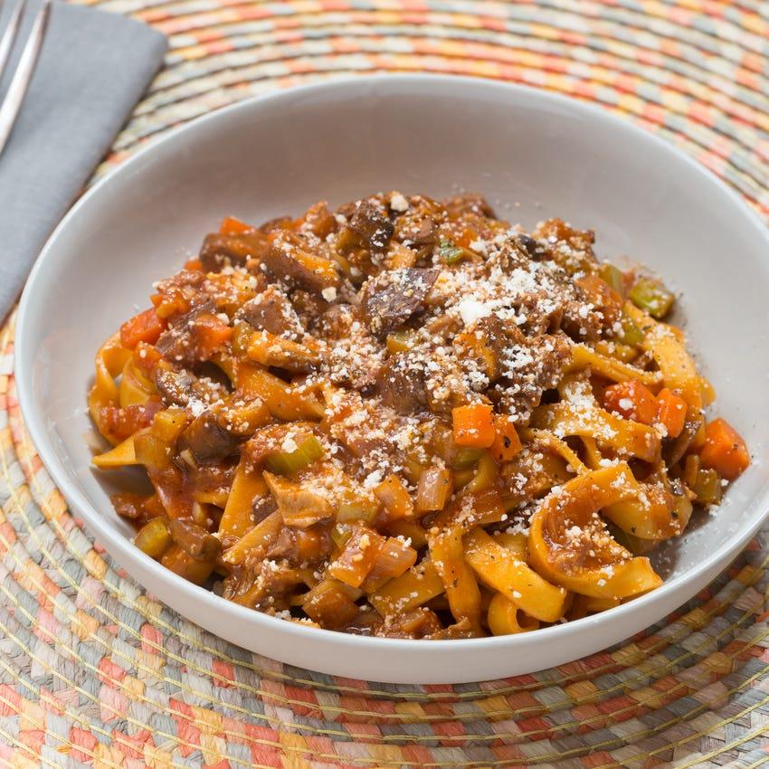 Fresh Fettuccine Pasta with Porcini Mushroom Bolognese