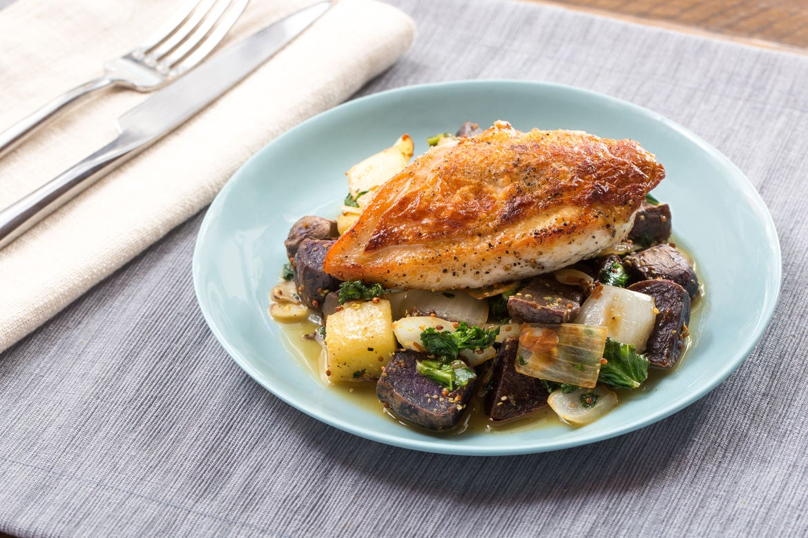 Seared Chicken with Sautéed Purple Potatoes, Kale & Apple