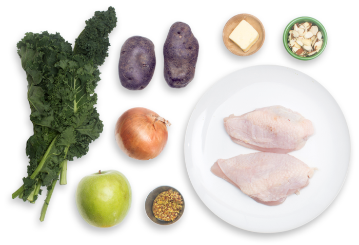 Seared Chicken with Sautéed Purple Potatoes, Kale & Apple ingredients