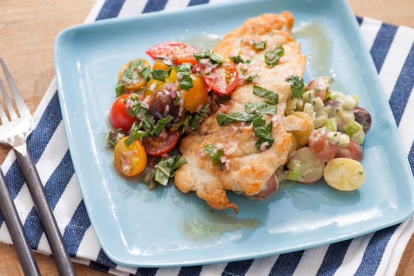Chicken Paillard with Warm Potato Salad