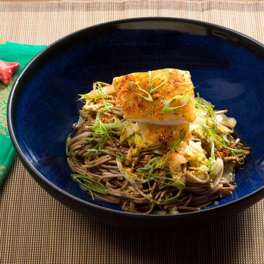 Crispy Cod & Yuzu-Shoyu Soba with Cabbage & Togarashi