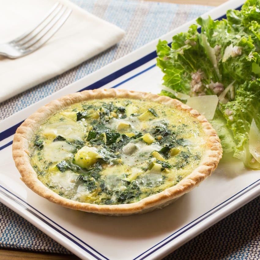 Zucchini & Parmesan Quiches with Green Leaf Lettuce Salad & Pink Lemon Vinaigrette