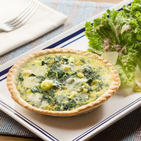 Zucchini & Parmesan Quiches with Green Leaf Lettuce Salad & Pink Lemon Vinaigrette