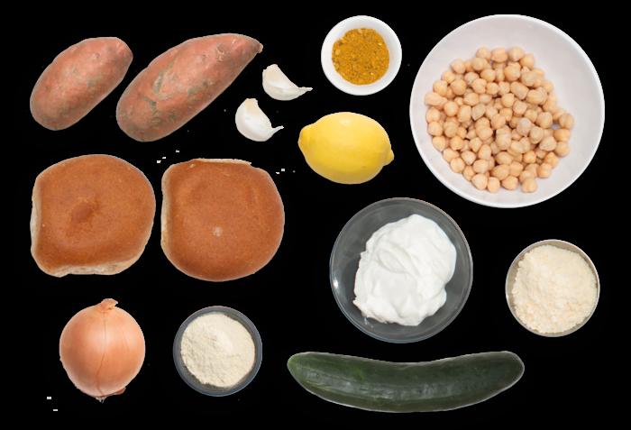 Vadouvan Chickpea Burgers with Roasted Sweet Potato Rounds & Yogurt Sauce