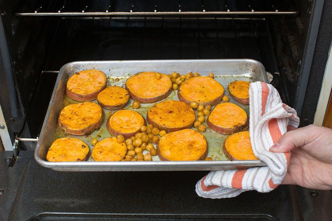 Roast the sweet potatoes & chickpeas: