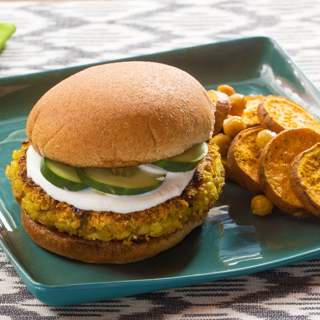 Vadouvan Chickpea Burgers with Roasted Sweet Potato Rounds & Yogurt Sauce