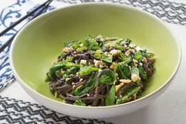 Spicy Peanut Noodles with Snow Peas, Pea Tips & Garlic Peanuts