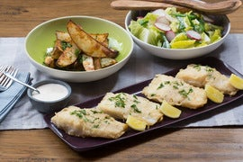 Fish & Chips with Radish, Sugar Snap Pea & Romaine Salad