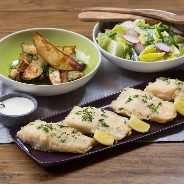 Fish & Chips with Radish, Sugar Snap Pea & Romaine Salad