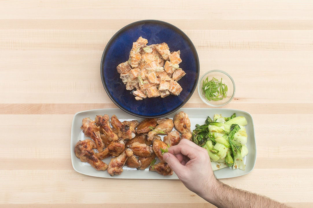 : Orange-Glazed Chicken Wings with Miso Sweet Potato Salad & Ginger ...