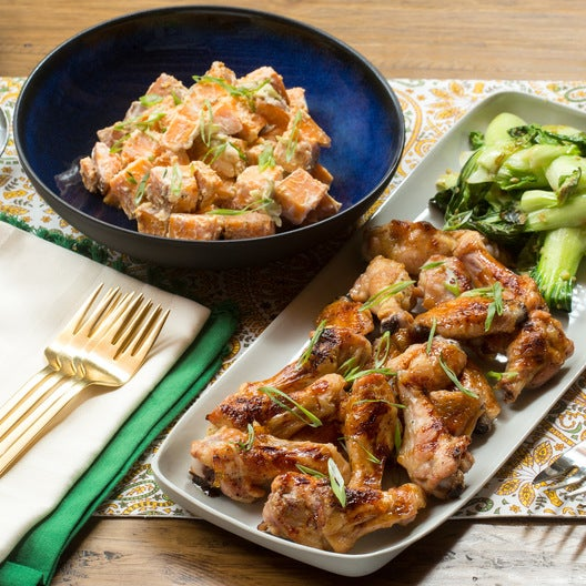 Orange-Glazed Chicken Wings with Miso Sweet Potato Salad & Ginger Bok Choy