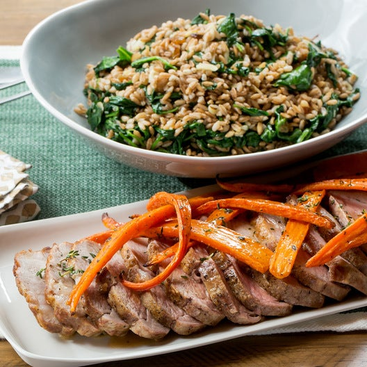 Roasted Pork & Spinach-Farro Salad with Thyme-Roasted Carrots