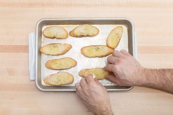 Make the garlic toasts: