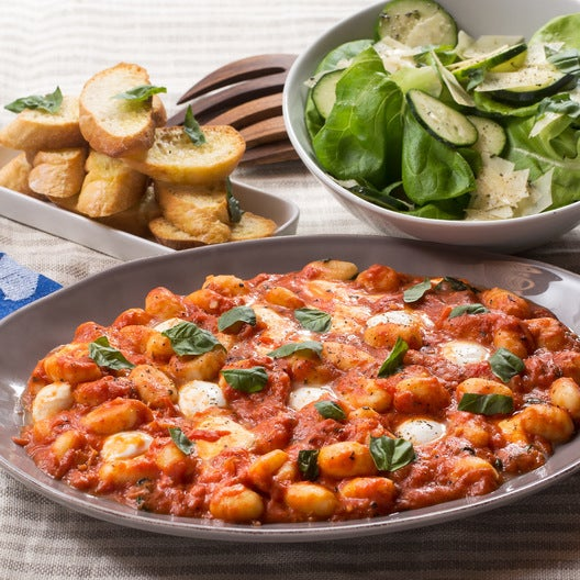 Gnocchi Caprese with Garlic Toasts & Butter Lettuce Salad