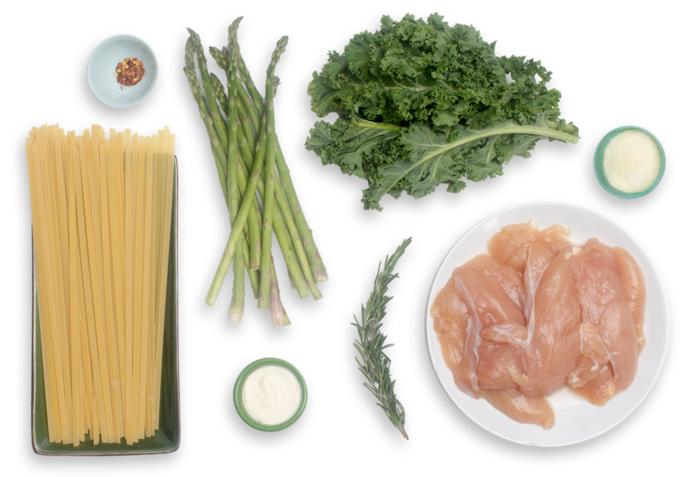Spring Chicken Fettuccine with Sautéed Asparagus, Kale & Rosemary ingredients