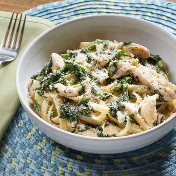 Spring Chicken Fettuccine with Sautéed Asparagus, Kale & Rosemary