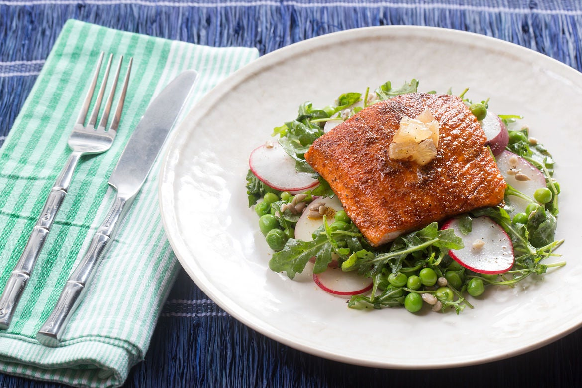 Seared Salmon Salad with English Peas, Arugula & Pink Lemon