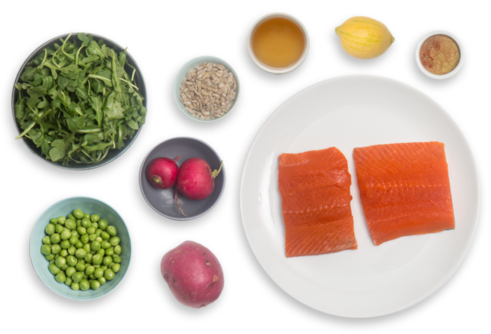 Seared Salmon Salad with English Peas, Arugula & Pink Lemon  ingredients