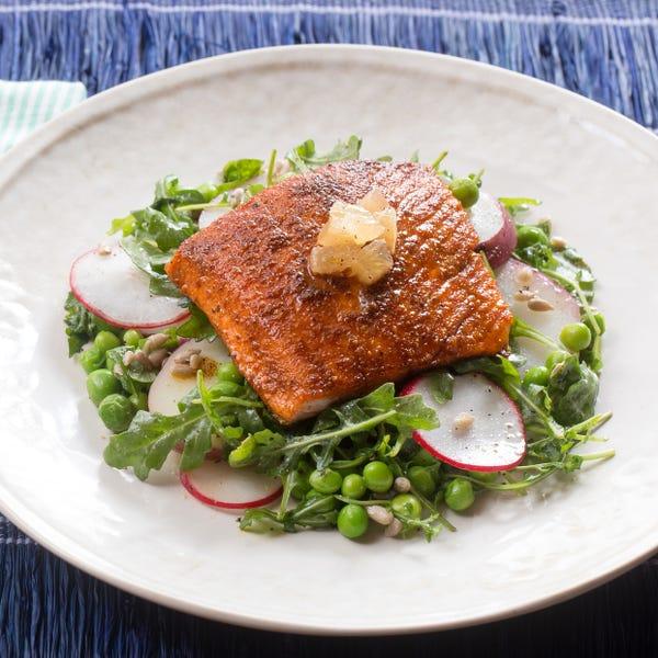 Seared Salmon Salad with English Peas, Arugula & Pink Lemon