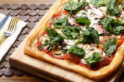 Greek Pizza with Kalamata Olives, Feta & Pea Tips